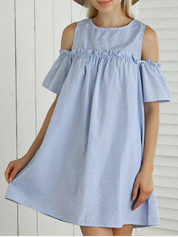 Trendy Striped Cut Out Ruffled Casual Dress For Summer LIGHT BLUE M