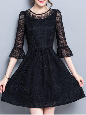 Flare Sleeve Party Cutwork Dress - Black - L