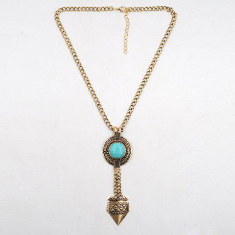 Hot Faux Turquoise Round Sweater Chain