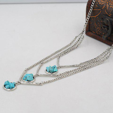 Unique Layered Chain Faux Turquoise Sweater Chain - SILVER  Mobile