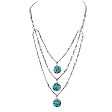 Layered Chain Faux Turquoise Sweater Chain - Silver - L