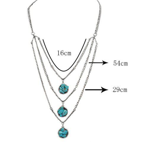 Fashion Layered Chain Faux Turquoise Sweater Chain - SILVER  Mobile