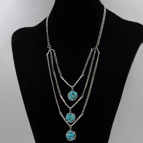 Shop Layered Chain Faux Turquoise Sweater Chain - SILVER  Mobile