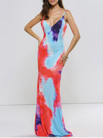 Fancy Backless Tie Dyed Evening Cami Dress