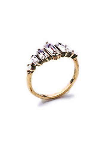 Latest Rectangle Faux Crystal Ring - ONE-SIZE GOLDEN Mobile