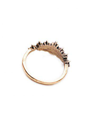 Hot Rectangle Faux Crystal Ring - ONE-SIZE GOLDEN Mobile