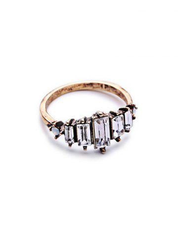 Buy Rectangle Faux Crystal Ring - ONE-SIZE GOLDEN Mobile