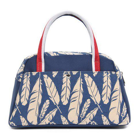 Store Casual Feather Print Tote Bag - BLUE  Mobile