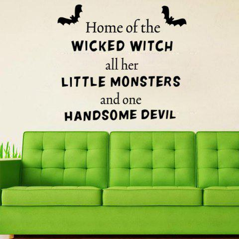 Outfits Halloween Proverb Wicked Witch Words Room Decoration Wall Sticker BLACK