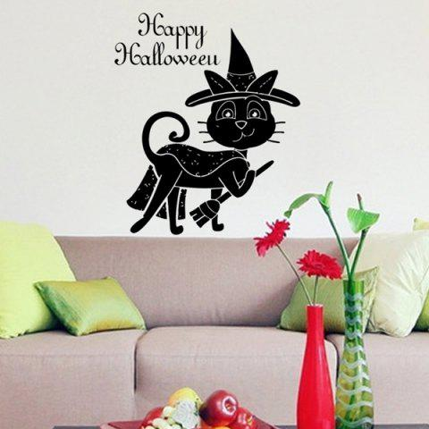 Shop Halloween Words Cat Witch Pattern Decorative Wall Stickers For Kids Rooms BLACK