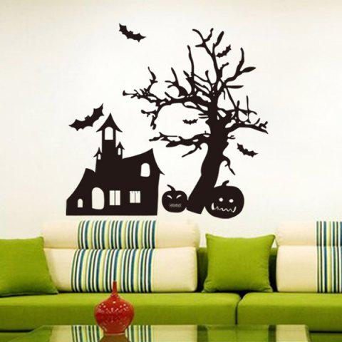 Hot Halloween Spook House and Pumpkin Pattern Room Wall Sticker BLACK