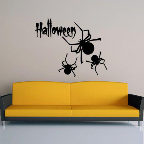 Outfits Halloween Letter Spider Pattern Waterproof Room Vinyl Wall Sticker BLACK