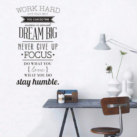 Chic Work Hard Encouragement Proverb Study Room Wall Sticker - BLACK  Mobile