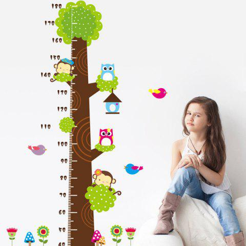 Outfits Owl and Monkey Cartoon Height Measurement Bedroom Wall Sticker
