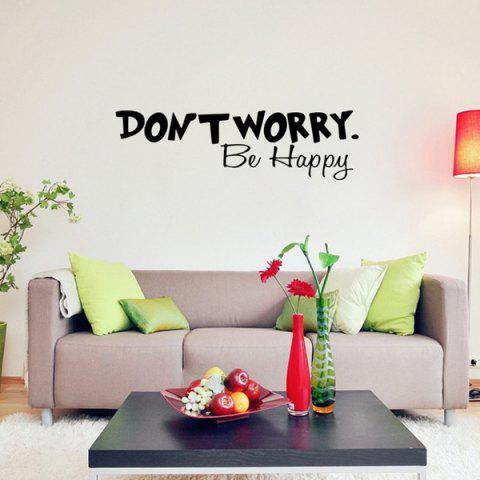 Sale Don't Worry Motivational Proverb Removable Room Wall Sticker BLACK