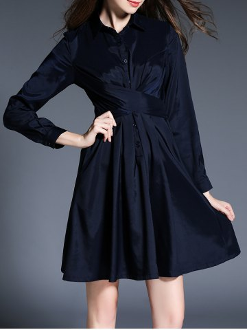 Affordable Belted Long Sleeve Button Shirt Dress