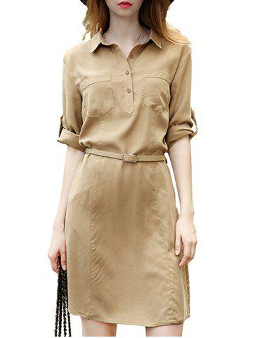 Hot Front Pockets 3/4 Sleeve Belted Mini Shirt Dress