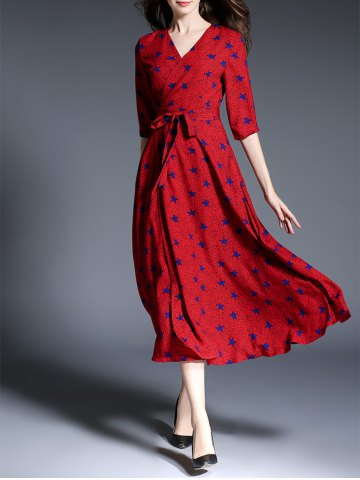 Unique Star Print Faux Wrap Belted Maxi Dress RED XL