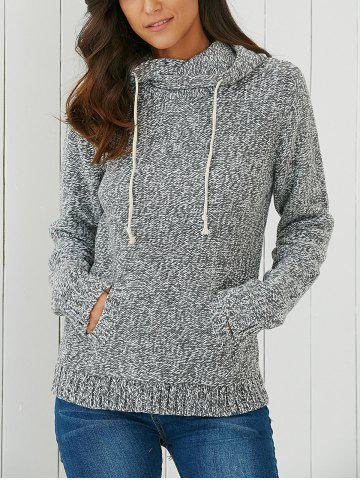 Outfit Hooded Long Sleeve Pocket Design Women's Sweater LIGHT GRAY ONE SIZE