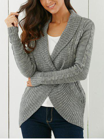 Cheap Shawl Collar Cardigan GRAY S