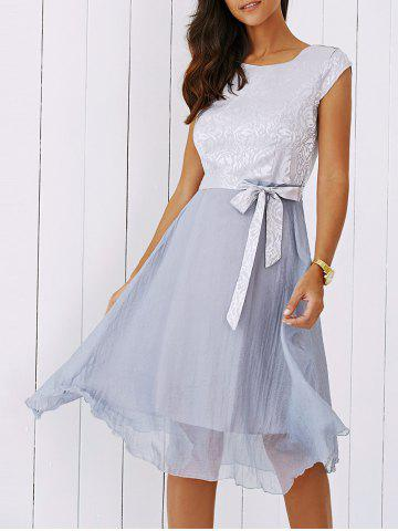 Trendy Elegant Jacquard Bowknot Dress For Women