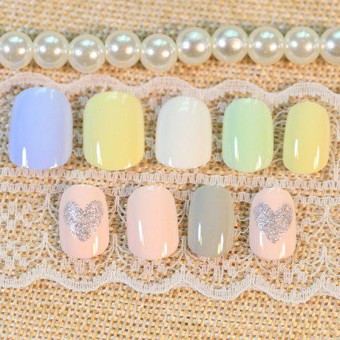 Sale 24 PCS Heart Pattern Glitter Powder Nail Art False Nails