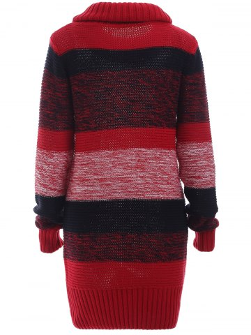 Outfits Ribbed Long Sleeves Turtleneck Jumper Dress - XL RED Mobile