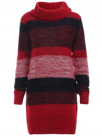 Ribbed Long Sleeves Turtleneck Jumper Dress - Red - L