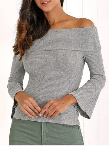 New Retro Bell Sleeve Slimming Ribbed Off The Shoulder Knitwear