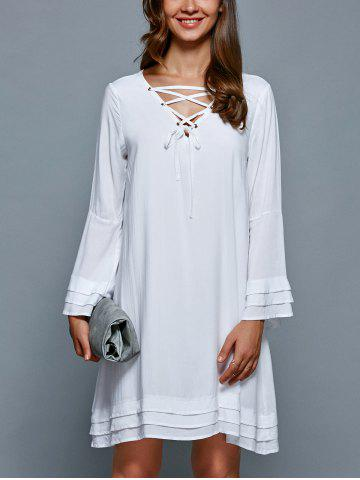 Fashion Layered V Neck Bell Sleeve Dress
