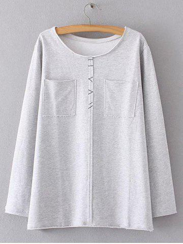 Latest Trimming Double Pockets T-Shirt GRAY 4XL