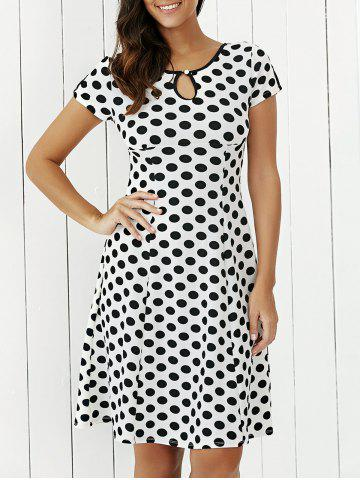 Fashion Keyhole Polka Dot Print Short Sleeve A Line Dress WHITE L