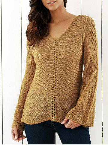Latest Bell Sleeves Openwork Knitted Sweater LIGHT KHAKI ONE SIZE