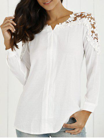 Chic Long Sleeves Guipure Hollow Out Blouse
