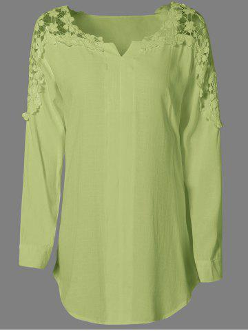 Chic Long Sleeves Guipure Hollow Out Blouse CELADON M