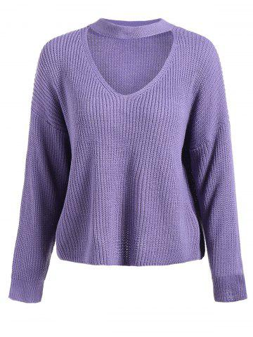 Outfit Loose Chunky Sweater PURPLE ONE SIZE