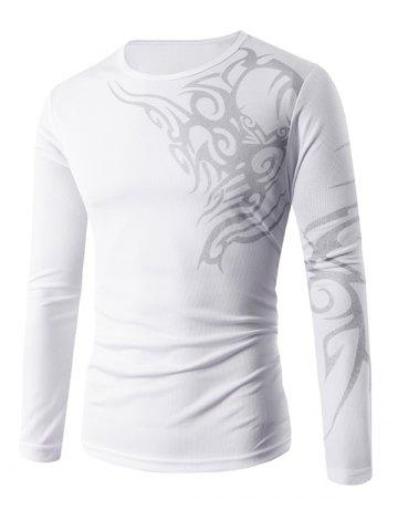 Store Round Neck Long Sleeve Tattoo Print T-Shirt WHITE XL