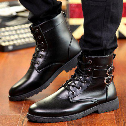 Trendy Buckle Lace-Up Combat Boots - 43 BLACK Mobile