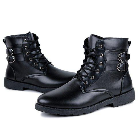 Fashion Buckle Lace-Up Combat Boots - 44 BLACK Mobile