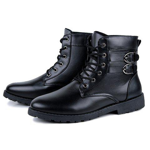 Hot Buckle Lace-Up Combat Boots - 44 BLACK Mobile