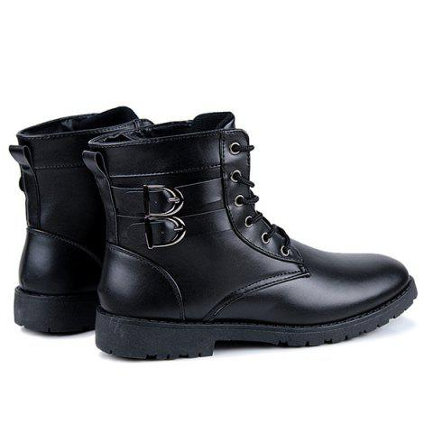 Outfit Buckle Lace-Up Combat Boots - 41 BLACK Mobile