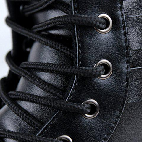 New Buckle Lace-Up Combat Boots - 41 BLACK Mobile