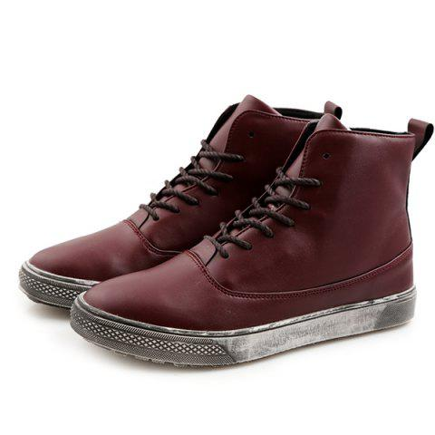 New Lace-Up PU Leather Short Boots - 43 WINE RED Mobile