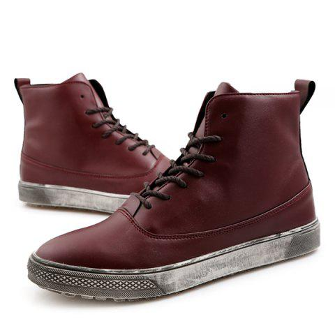Trendy Lace-Up PU Leather Short Boots - 43 WINE RED Mobile