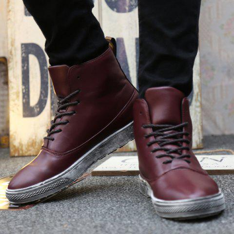 Hot Lace-Up PU Leather Short Boots - 40 WINE RED Mobile