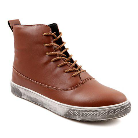 Best Lace-Up PU Leather Short Boots BROWN 44