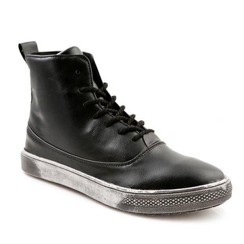 Buy Lace-Up PU Leather Short Boots - 44 BLACK Mobile