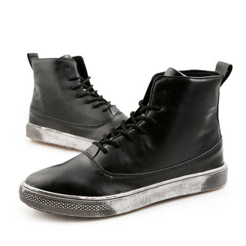 Trendy Lace-Up PU Leather Short Boots - 40 BLACK Mobile