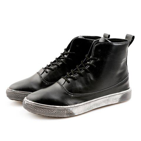 New Lace-Up PU Leather Short Boots - 40 BLACK Mobile