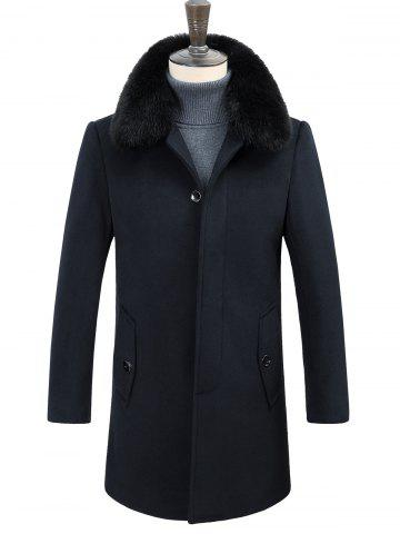 New Detachable Faux Fur Turn-Down Collar Covered Button Coat
